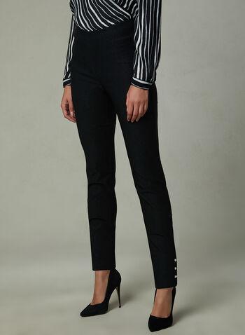 Pantalon pull-on à détails perlés, Noir, hi-res