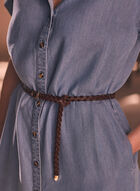 Belted Tencel Shirt Dress, Blue