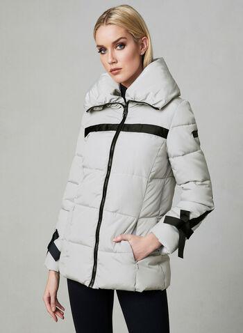 Karl Lagerfeld Paris - Manteau matelassé à détails nœuds, Argent, hi-res
