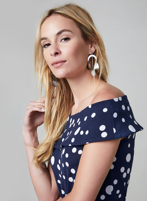 Polka Dot Print Top, Blue