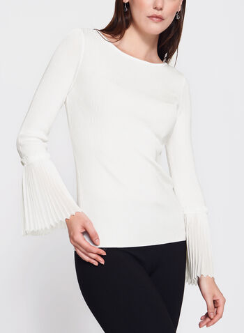 Chiffon Bell Sleeve Knit Sweater, Off White, hi-res
