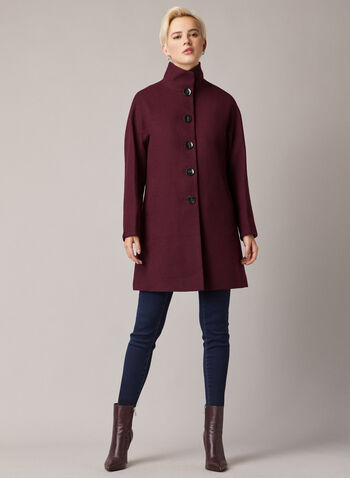 High Collar Wool Blend Coat, Purple,  coat, high neck, wool blend, button front, pockets, lined, long sleeves, fall winter 2020