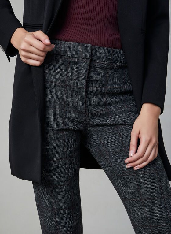 Plaid Print Slim Leg Pants, Grey