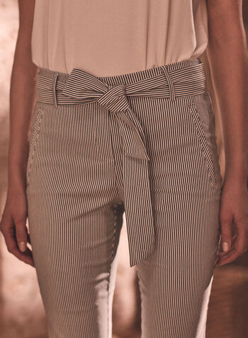 Striped Capri Pants, Black,  spring summer 2021, pants, capri, belt, stripe, zipper, pockets