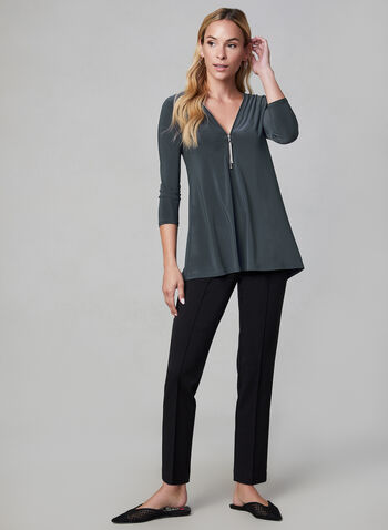 Zipper Front Top, Grey,  fall winter 2019, jersey, 3/4 sleeves, zipper