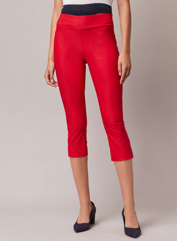 Slim Leg Pull-On Capris, Red,  capris, pull-on, bengaline, slim, spring summer 2020