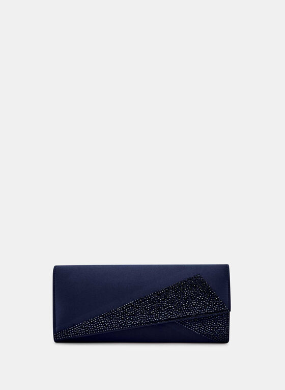 Crystal & Satin Clutch, Blue, hi-res