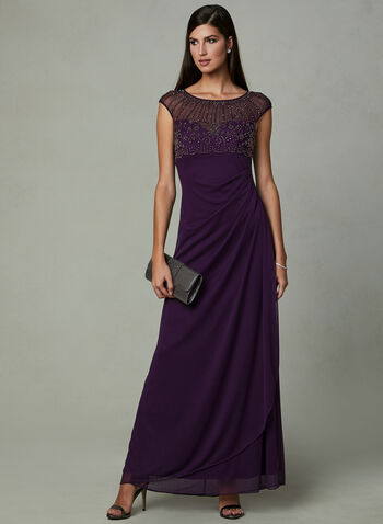 BA Nites - Empire Waist Cascading Dress, Purple, hi-res
