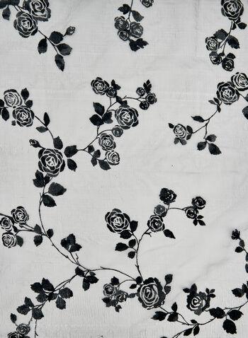 Foulard à imprimé floral en velours floqué, Bleu, hi-res