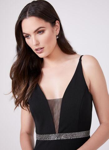 Marina - Sleeveless Illusion Neckline Dress, Black, hi-res