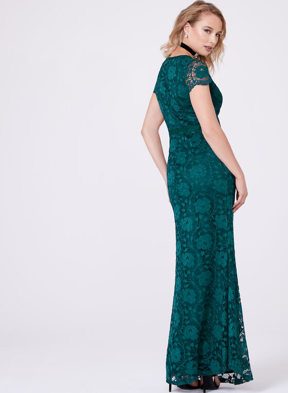 Ellen Tracy - Empire Waist Lace Gown, Green, hi-res