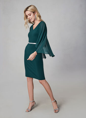 Frank Lyman - Cape Sleeve Dress, Green, hi-res,  sheath, fall winter 2019, poncho, chiffon overlay, cape sleeves,
