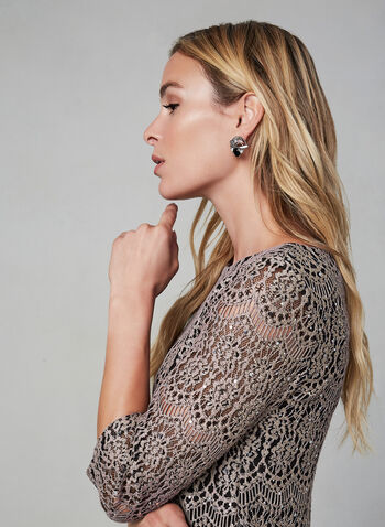 Eliza J - Lace and Sequin Dress, Black,  dress, sequin, lace, cocktail dress, 3/4 sleeves, boat neck, fall 2019, winter 2019