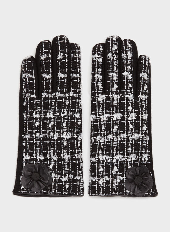 Leather Detail Tweed Gloves, Black, hi-res