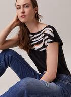 Zebra Print Cap Sleeve Top, Black