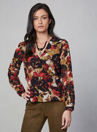 Floral Print Blouse, Orange, hi-res