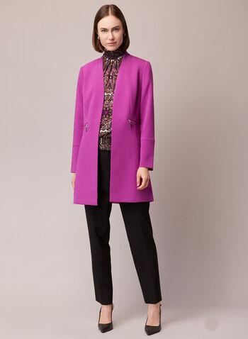 Zipper Detail Redingote, Red,  jacket, redingote, long sleeves, zipper, fall winter 2020