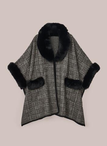 Poncho à carreaux et fausse fourrure, Noir,  poncho, fausse fourrure, tartan, poches, automne hiver 2020