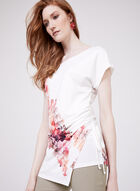 Floral Print Faux Wrap Top, White, hi-res