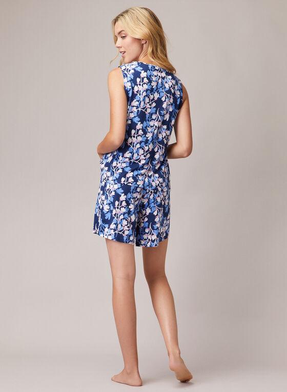 Pyjama 2 pièces à fleurs, Bleu