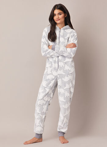 Polar Bear Motif Onesie Pyjamas, Grey,  sleepwear, jumpsuit, pyjamas, polar bear, fall winter 2020