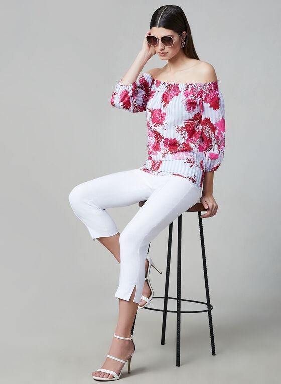 Linea Domani - Blouse fleurie à épaules dénudées, Rouge