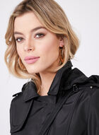 Novelti - Water Repellent Belted Hooded Coat, Black, hi-res