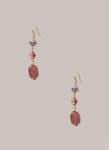 Triple Stone Dangle Earrings, Pink,  fall winter 2020, earrings, dangle, faceted, golden-tone, stones, glass