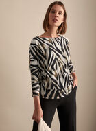 Zebra Print Dolman Sleeve Top, Black