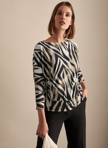 Zebra Print Dolman Sleeve Top, Black,  top, 3/4 sleeves, boat neck, jersey, textured, zebra, stretchy, spring summer 2020