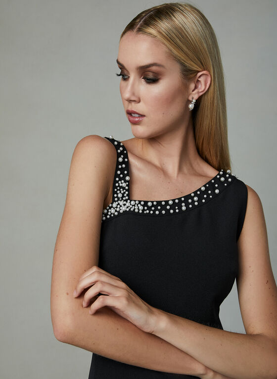 Karl Lagerfeld Paris - Beaded Neck Crepe Dress, Black, hi-res