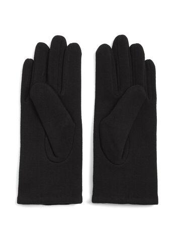Wool Blend Flower Appliqué Gloves, Black, hi-res