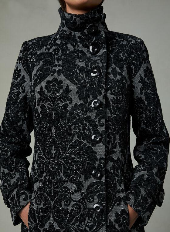 Manteau col montant à motif baroque, Gris, hi-res