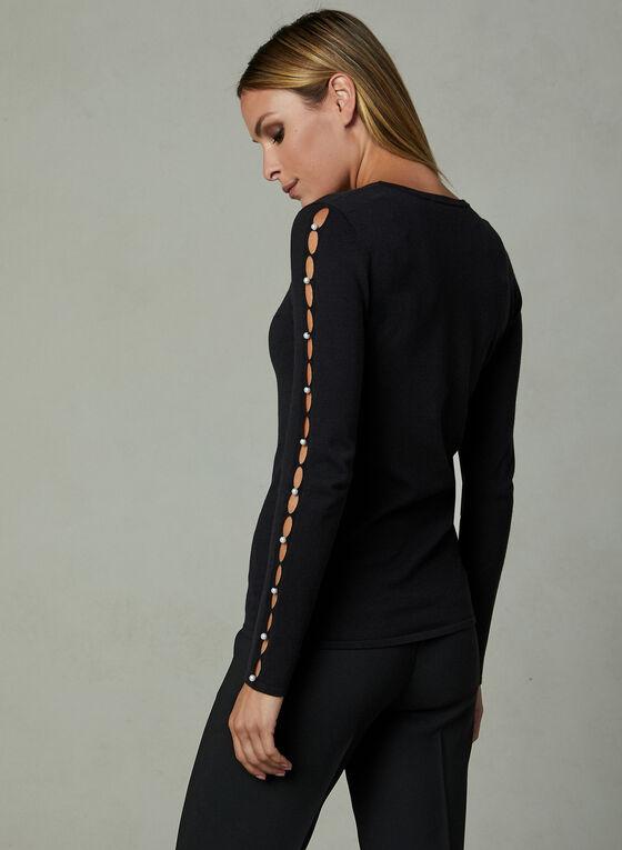 Pearl Detail Cutout Sleeve Sweater, Black, hi-res