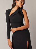 Asymmetric Neckline Dress, Black