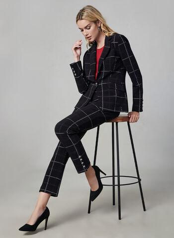 Window Pane Print Blazer, Black, hi-res,  grid, plaid, long sleeves, knit, notch collar, fall 2019, winter 2019