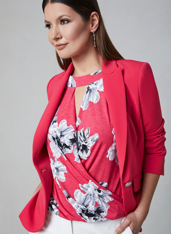 Floral Print Faux Wrap Top, Red