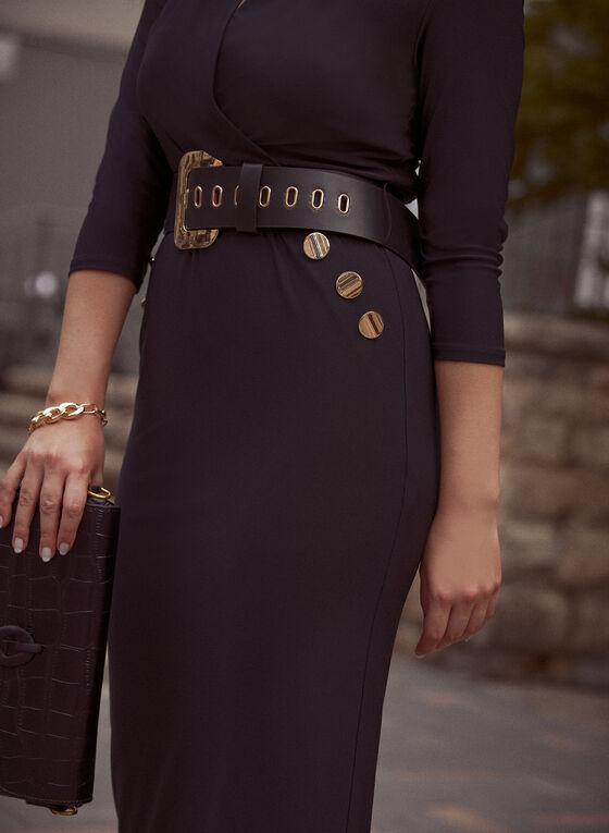 V-Neck Jersey Dress With Belt, Black