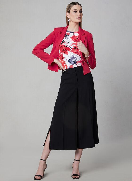 Haut à manches cape et imprimé floral, Rouge, hi-res
