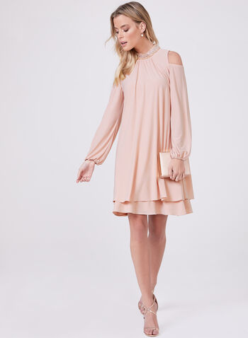 BA Nites - Beaded Neck Cold Shoulder Dress, Pink, hi-res