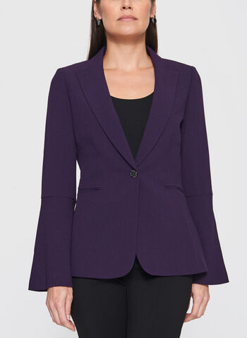 T Tahari - One-Button Bell Sleeve Crepe Blazer, , hi-res
