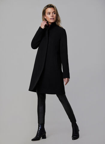 Mallia - Wool Blend Coat, Black, hi-res,  Mallia, coat, wool, mid-length, piped pockets, shoulder pads, wing collar, fall 2019, winter 2019