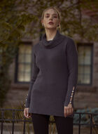 Funnel Neck Knit Tunic, Grey