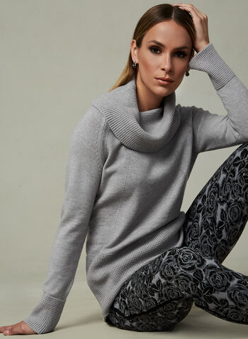 Elena Wang - Cowl Neck Sweater, Grey, hi-res