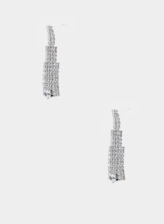 Crystal Dangle Earrings , Silver