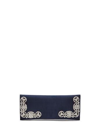 Crystal Embellished Satin Clutch, Blue, hi-res