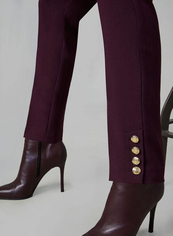 Pantalon coupe Giselle à détails de boutons dorés, Violet