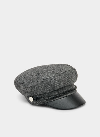 Vince Camuto - Herringbone Cap, Black,  military cap, visor, faux leather, fall 2019