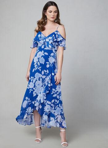 Maggy London - Floral Print Cold Shoulder Dress, Blue, hi-res
