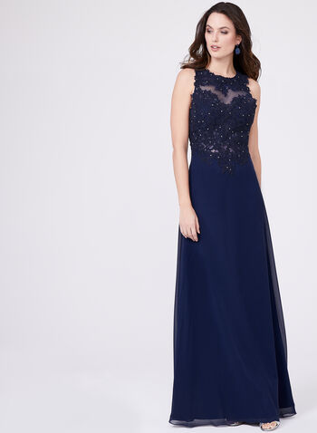 Cachet - Beaded Lace Bodice Dress, Blue, hi-res